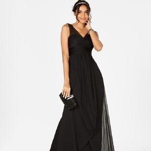 Adrianna Papell Ruched Embellished Gown Black